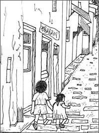 Fred and Katie began walking toward the big tree in the alley.
