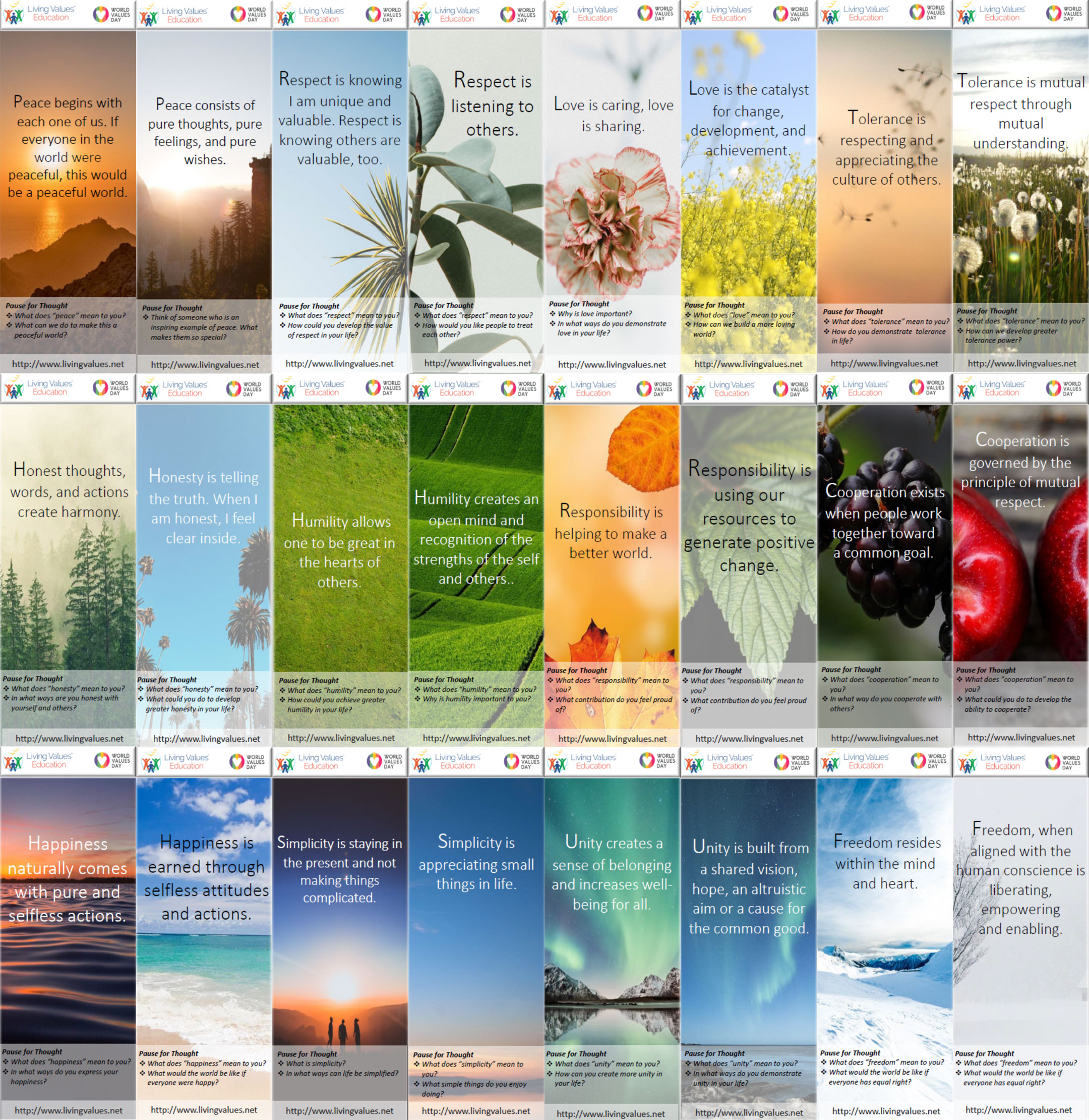 Values Bookmarks